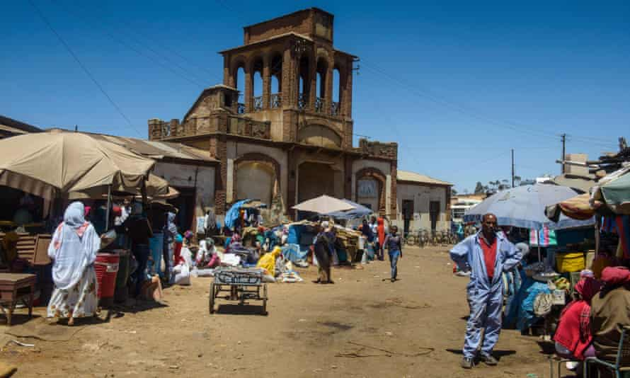 Medebar market in Asmara – a shopkeeper said he earned around 800 nafka (£34) a month.