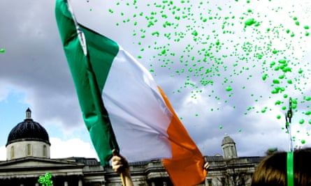 The Irish flag is flown during St Patrick's Day celebrations in Trafalgar Square, London