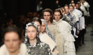 Models on the catwalk during the Burberry show.