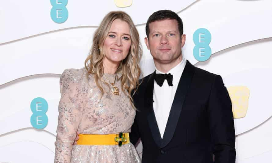Edith Bowman with Dermot O'Leary at the 73rd Baftas