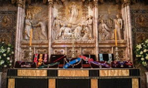 The Duke of Edinburgh's Insignias placed on the altar in St George's Chapel, Windsor, ahead of his funeral on Saturday.