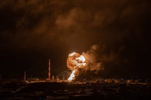 A blaze rips through the small-scale Ukhta oil refinery.