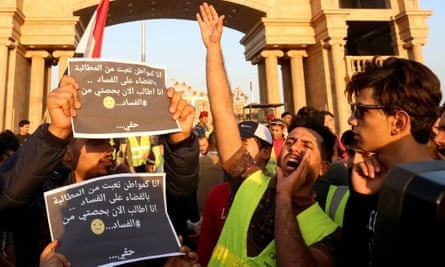 """A """"yellow vest"""" protest against corruption and unemployment in Basra, Iraq."""