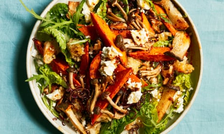 Thomasina Miers' recipe for roast mushroom and sweet potato salad with balsamic onions