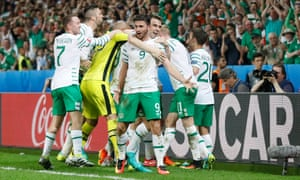 Republic of Ireland players celebrate at the final whistle after their victory over Italy ensured progress to the last 16 at Euro 2016.