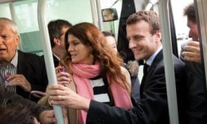 Marlène Schiappa and Emmanuel Macron on public transport in Le Mans