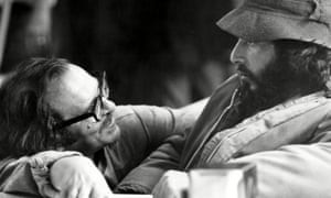 Director Sidney Lumet with Al Pacino on the set of Serpico.