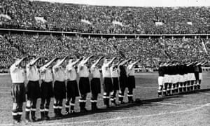 The England football team give the Nazi salute before a match against Germany in Berlin in 1938.
