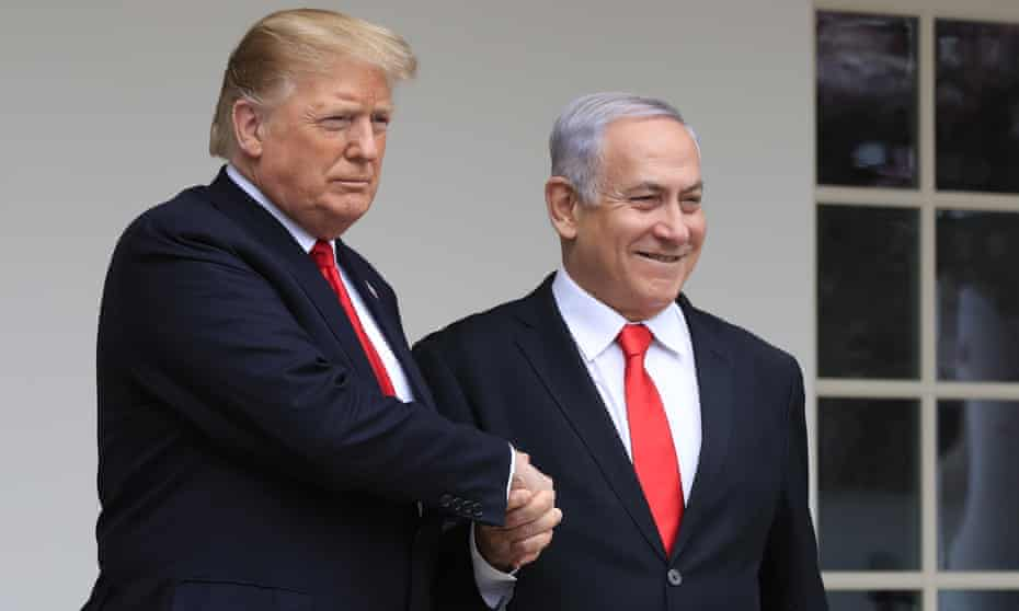 Donald Trump welcomes Benjamin Netanyahu to the White House in March.