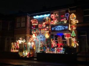 Festive illuminations cover a house in Gateshead