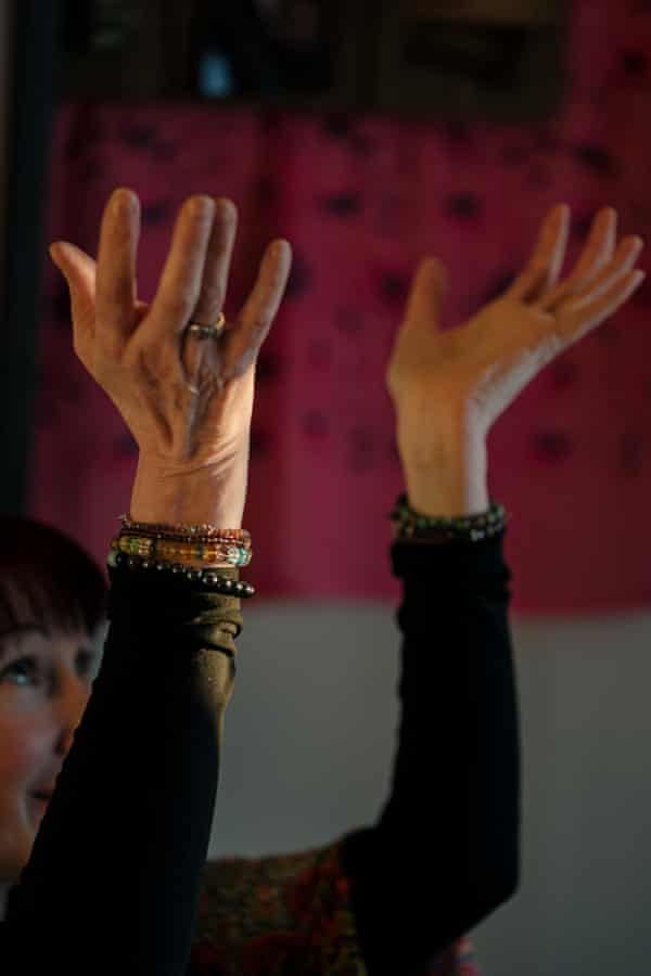 Eileen Dey Wurst hosts a free virtual sharing circle and healing meditation using Zoom video conferencing at her home.