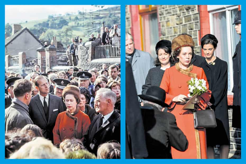 The Queen visiting Aberfan in 1966; below, Olivia Colman wears a replica of her outfit in The Crown.