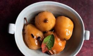 Pears with fudge sauce.