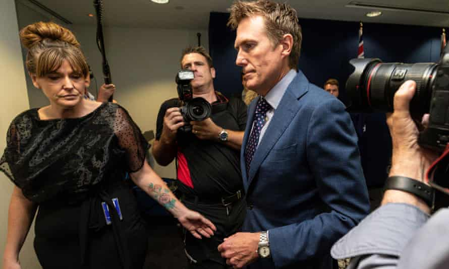 Attorney general Christian Porter leaves his press conference in Perth last week