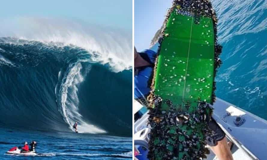 Danny Griffiths catches a wave at Pedra Branca in Tasmania in 2017 just before he lost his surfboard, and the surfboard, covered in barnacles, found in 2021 by two brothers near Townsville in north Queensland, more than 2,700km away
