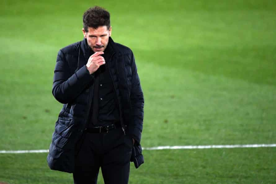 Diego Simeone watches his Atlético side slip to a rare defeat
