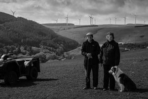 Sheep farmers, Edward and Anne Edwards above Gilfach Goch, South Wales