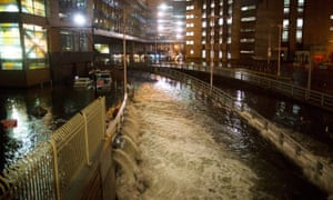 Seawater floods the entrance to the Brooklyn Battery Tunnel during Superstorm Sandy in New York in 2012.
