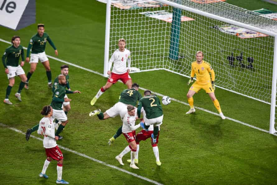 Matt Doherty heads home a late equaliser for Republic of Ireland against Denmark.