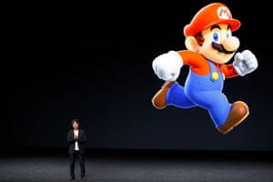 Shigeru Miyamoto, creative fellow at Nintendo and creator of Super Mario, speaks on stage during an Apple launch event on 7 September.