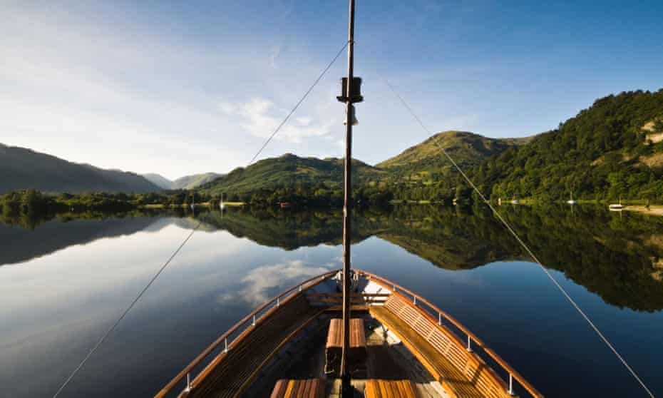 Ullswater steamer, Lady of the lake at Glenridding, Patterdale on a perfectly still summer morning.