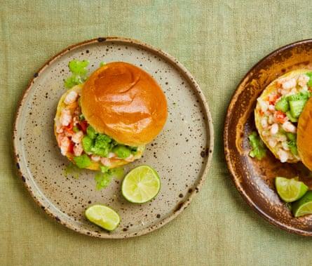 Yotam Ottolenghi's prawn buns with lime, scotch bonnet and cucumber salsa.