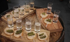 Shots and canapes at CH Distilleries, Chicago