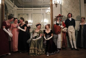 Moscow, Russia: people wearing 19th-century costumes attend a reconstruction of the Christmas masquerade ball in a Stroganov family palace