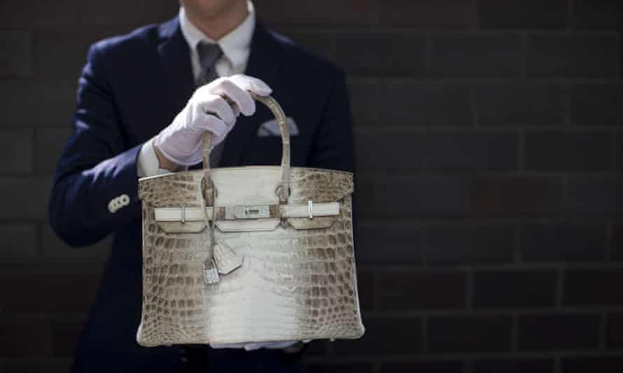 A Hermès diamond and Himalayan Nilo Crocodile Birkin handbag on display at an auction house in Beverly Hills, USA.