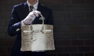 A Hermès Birkin handbag with diamonds and crocodile leather.