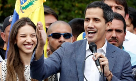 Venezuela opposition leader Juan Guaidó addresses supporters in Caracas on Saturday.