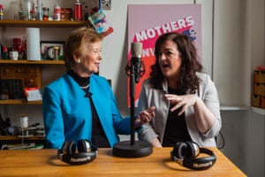 Robinson records her podcast, Mothers of Invention, with her co-host, Maeve Higgins