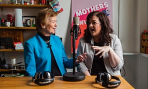 Former president of Ireland, Mary Robinson, with comedian, Maeve Higgins – presenters of the Mothers of Invention podcast.