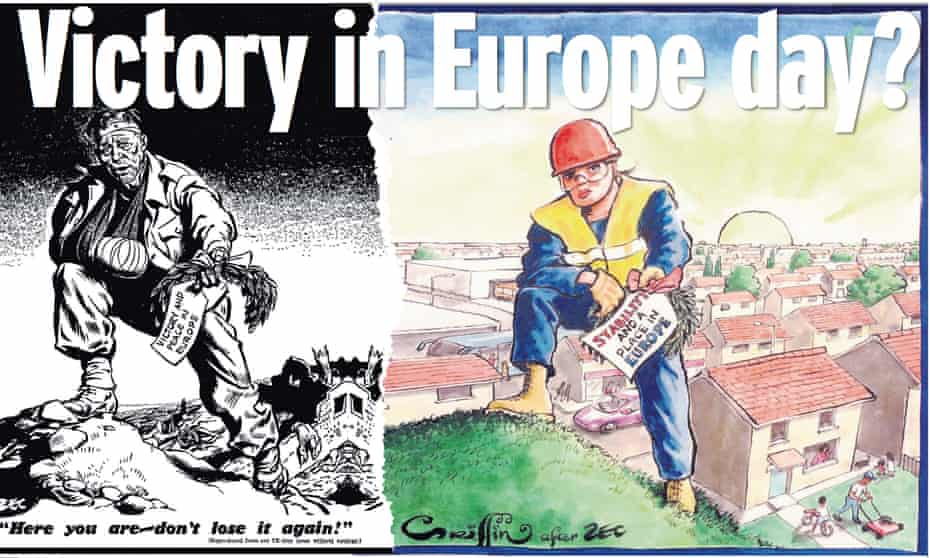 The Sunday Mirror reaches back into Daily Mirror history by contrasting a Philip Zec cartoon in 1945 with a current 'remake' by Charles Griffin.