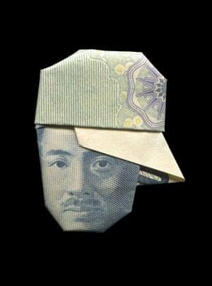 Hideyo Noguchi illustrated using banknote origami by Japanese illustrator Yosuke Hasegawa.