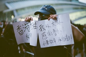 Lu Freedom attending a protest in Hong Kong