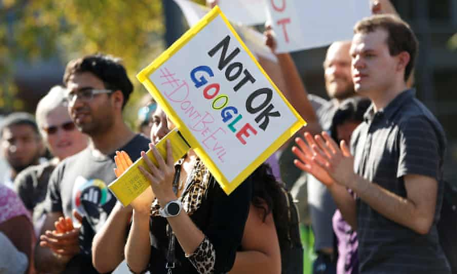 A protest at the Google headquarters on 1 November 2018 over the company's handling of a large payout to Android chief Andy Rubin and concerns over other managers who had allegedly engaged in sexual misconduct.