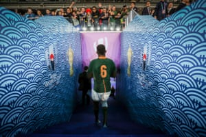 Siya Kolisi leaves the field after the winning the Rugby World Cup.