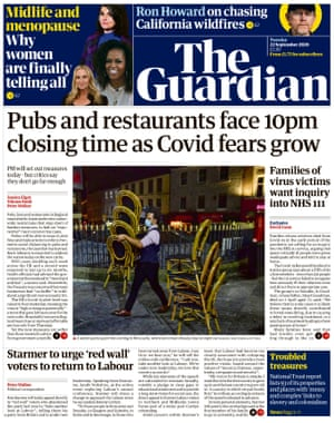 Guardian front page 22 September 2020