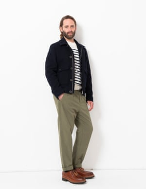 model wears jacket, £175, jumper, £150, and chinos, £49, all johnlewis.com. Shoes, £245, grenson.com.