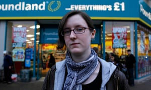 Cait Reilly outside a branch of Poundland