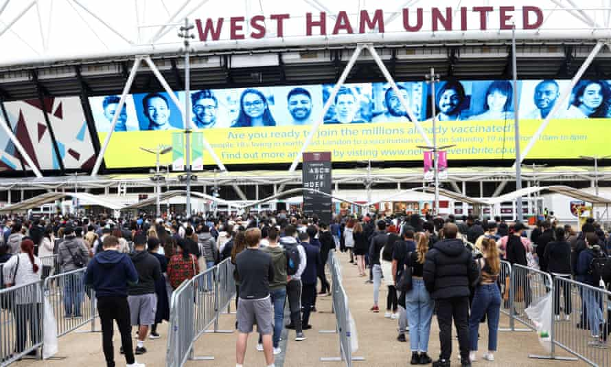 Mass vaccination centre at West Ham's London Stadium grounds in east London
