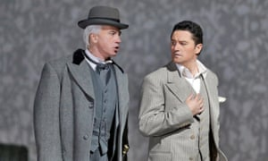 Dmitri Hvorostovsky (left) and Piotr Beczala (right) in Un Ballo in Maschera at the Metropolitan Opera