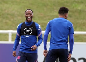 England's Raheem Sterling during a training session