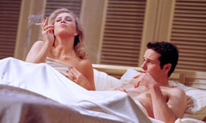 Smoking: Turner and Matthew Rhys in the London production of The Graduate.