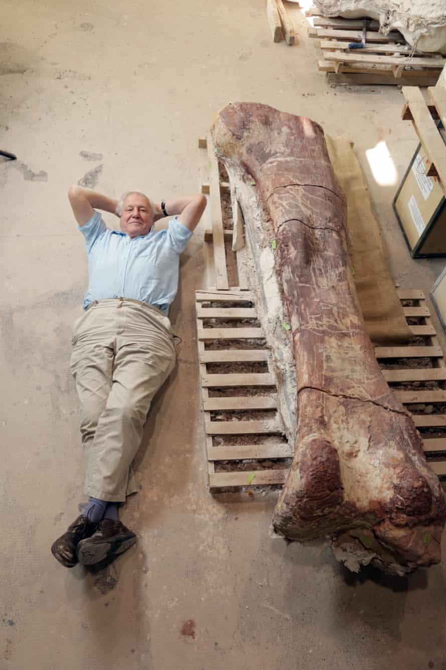 David Attenborough with a giant titanosaur's eight-foot-high thigh bone.