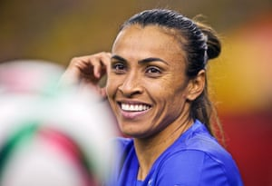 Marta in action for Brazil against Spain at the 2015 World Cup.