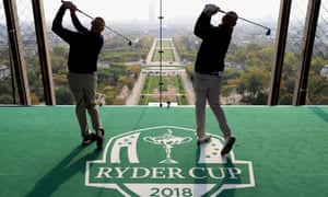 Jim Furyk, captain of the US, and Thomas Bjørn, captain of Europe, tee off from a platform on the Eiffel Tower during a Ryder Cup 2018 publicity stunt earlier this month