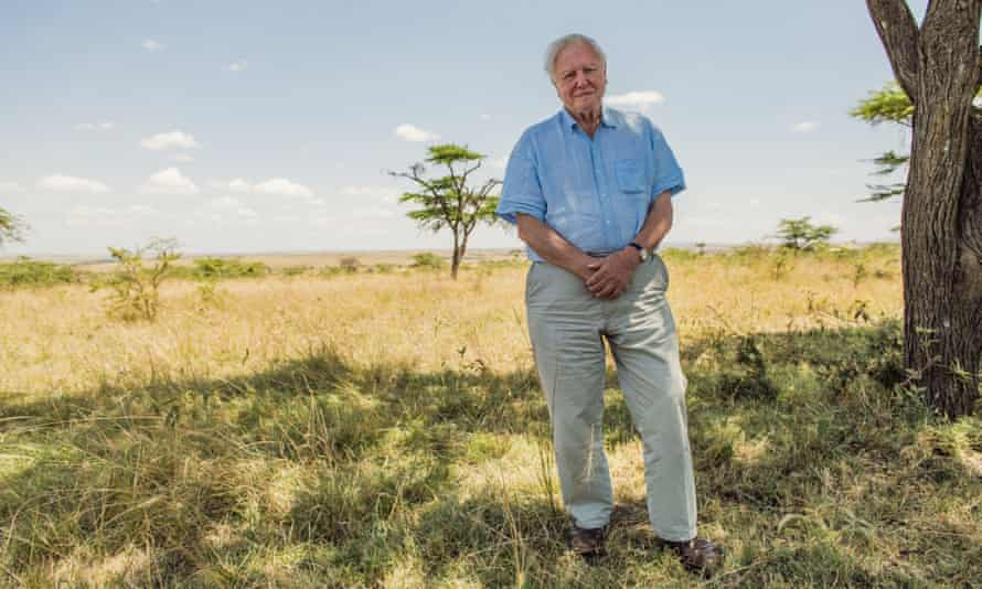 The clock is ticking for planet Earth … Attenborough in the Maasai Mara, Kenya.