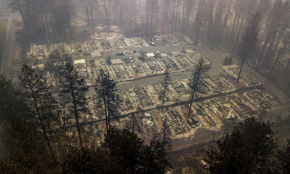 Residences leveled by the Camp fire line a neighborhood in Paradise, California.